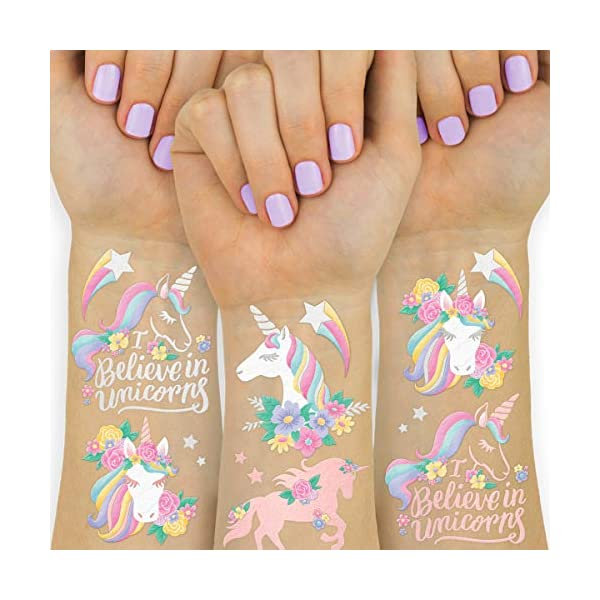 xo, Fetti Unicorn Party Favors - Temporary Tattoos for Kids - 26 styles | Birthday Party Supplies, Unicorn Favors… 2