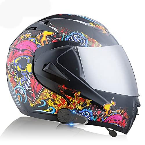 Casco Bluetooth para motocicleta, casco modular para motocicleta de cara completa, tipo abatible, con visera solar doble icrófono incorporado con auriculares Bluetooth, ECE/DOT J,XS(53~54CM)
