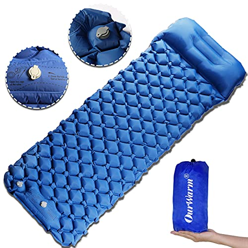 OurWarm Sleeping Pad for Camping, Sleeping Mat with Pillow Foot Press Inflatable Waterproof Large Thick Ultralight Air Sleeping Mattress for Backpacking Hiking Tent Traveling (One Person)
