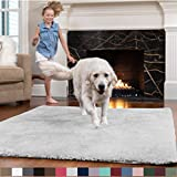 GORILLA GRIP Original Faux-Chinchilla Area Rug, 7.5x10 Feet, Soft and Cozy High Pile Washable Kids Carpet, Modern Floor Rugs, Luxury Shaggy Carpets for Home, Nursery, Bed and Living Room, Light Gray