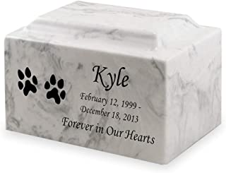 Dog Paw Prints Pet Cremation Urn - Personalized - Cultured Marble