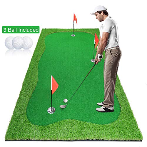 Luricaa Golf Putting Green Mat for Indoor Outdoor, Professional Golf Training Mat Aids for Professional Golf Practice (5x10ft Green-1)