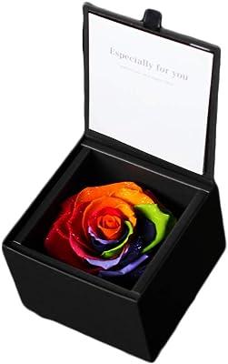 ダイヤモンドローズBOX レインボーローズ 花言葉は「奇跡」 プリザーブドフラワーギフト・誕生日・記念日・サプライズギフトに (レインボー)