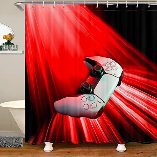 Cortina de baño blanca Gamepad roja Ombre cortina de ducha para puestos bañeras videojuego cuarto de baño cortina de ducha Set novedad moderno controlador impermeables 180 x 180 cm