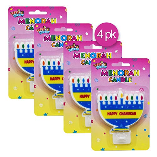 Izzy 'n' Dizzy Menorah Shaped Candle with Stand - 4 Pack - Hanukkah Party Decorations and Supplies