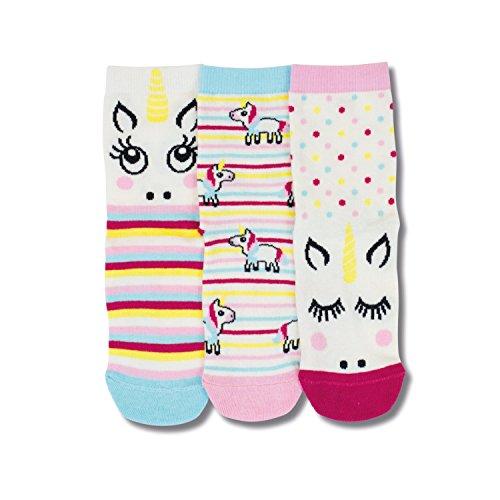 United Oddsocks - 3 Kurze Socken Kinder Jungen 27-30, Modell: Magie (Einhorn)