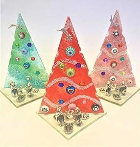 3 x Murano - Árbol de Navidad hecho a mano en diferentes colores, de cristal, fabricado en Italia, regalo de recuerdo económico