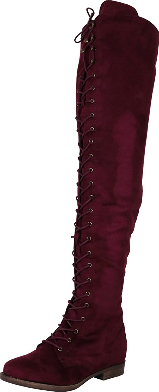 Cambridge Select Woherrar Over The Knee Thigh High Lace -up -up -up Inner Zip Chunky Stack Low Heel Closed Round Toe Boot  kvalitetsgaranti