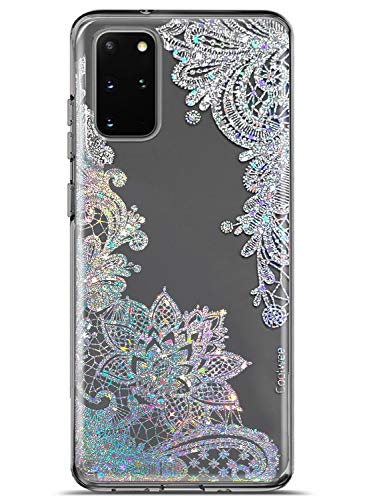 Coolwee Clear Glitter for Galaxy S20 Plus Case Thin Flower Slim Cute Crystal Lace Bling Women Girls Floral Plastic Hard Back Soft TPU Bumper Protective Cover for Samsung Galaxy S20 Plus Mandala Henna