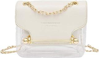 Wultia - Fashion Women Brand Design Small Square Shoulder Bag Clear Transparent PU Composite Messenger Bags New Female Handbags 6.99#M07 White