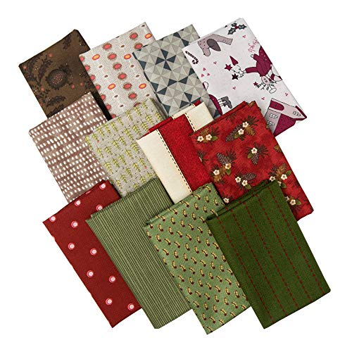 ChuanShui 12pcs 17.5 x 10.5 inches (44 x 25 cm) Quilting Fabric No Repeat Design 100% Cotton Precut Fat Eighths Fabric Bundles DIY Sewing Crafting Patchwork for Christmas.(line Pattern Series)