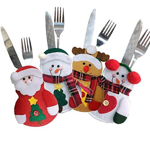 TrifyCore Papá Noel muñeco de Nieve Alce Cuchillo y Tenedor Bolsa de Almacenamiento de decoración de Navidad 4...