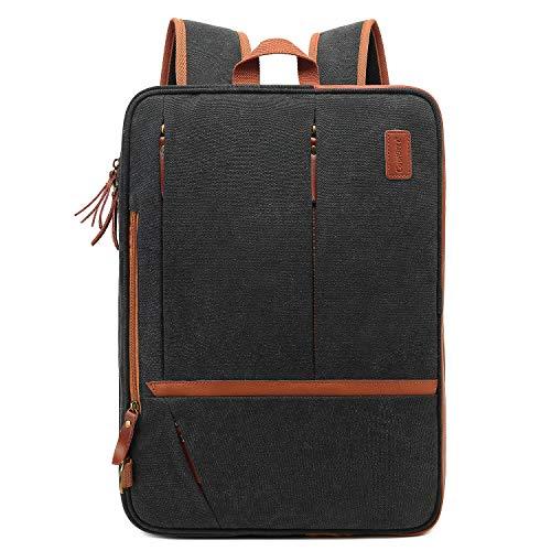 CoolBELL Convertible Messenger Bag Backpack Shoulder Bag Laptop Case Handbag Business Briefcase Multi-Functional Travel Rucksack Fits 17.3 Inches Laptop for Men/Women (Canvas Black)
