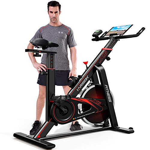 HARISON Exercise Bike Indoor Cycling Bike Belt Drive with Table Holder 35LBS Flywheel for Home Gym Cardio Fitness Workout (HR-X6)