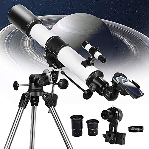 HONGLONG Telescope 80EQ Refractor Scope - 80mm Aperture and 700mm Focal Length, with Digiscoping Adapter for Photography and 13 Percent Transmission Moon Filter, Multi-Layer Green Film