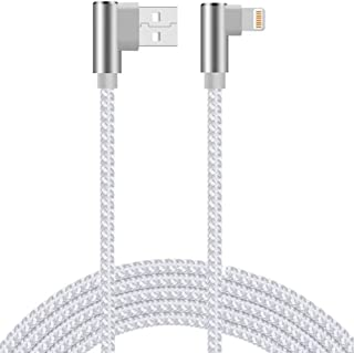 90 Degree iPhone Charger 10ft 3 Pack Right Angle Lightning Cable iPhone Charging Cable Nylon Braided Fast Charge Cord Comp...