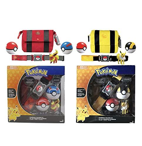 QWRT 2 Piezas Pokemon Cinturón Eeveelution Pokeball Bolsillo Monstruo Variante Figura De Acción Divertido Cosplay Modelo Niños Juguete Juego De Regalo