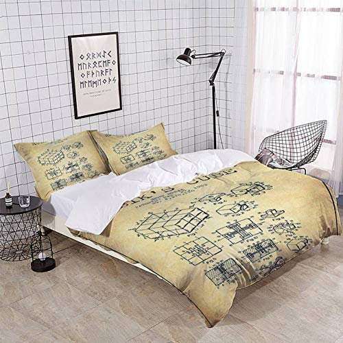 XZBLCMWYBYYYQ Rubiks Cube Patent from 1983 Vintage Bedding Duvet Cover Setting Duvet Cover with Pillowcases Queen Bedding Sets for Kids and Family Home Decor Soft Comfy