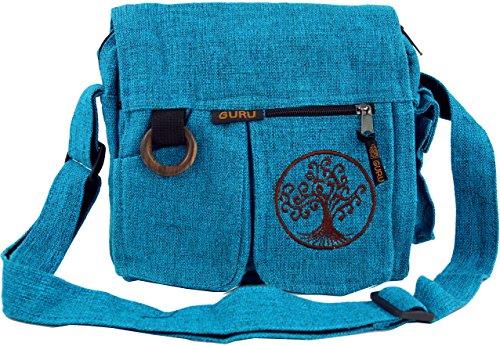 Guru-Shop Ethno Schultertasche `Tree of Life` - Türkis, Herren/Damen, Blau, Baumwolle, Size:One Size, 25x25x7 cm, Alternative Umhängetasche, Handtasche aus Stoff
