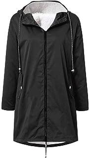 LEKODE Coat Women's Pocket Warm Solid Hoodie Long Sleeve
