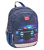 Belmil Kindergartenrucksack mit Brustgurt und Namensschild für 3-6 Jährige/Jungen / 12 L/Krippenrucksack Kindergartentasche Kindertasche/Polizei/Rot, Blau (305-4/A Police)