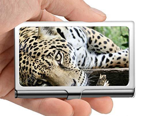 Monedero del titular de la tarjeta del nombre comercial, Jaguar cat animal Estuche para tarjetas de visita para hombres
