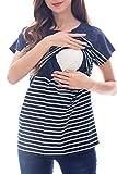 Smallshow Maglietta Premaman a Maniche Corte T-Shirt maternità Top Allattamento al Seno Maglietta a Righe Gravidanza in Cotone Navy L
