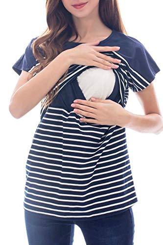Smallshow Stillshirt Kurzarm Umstands Tshirt Umstandstop Umstandsmode Stilltop Baumwolle Schwangerschaft Streifen Shirt Navy-White Stripe L