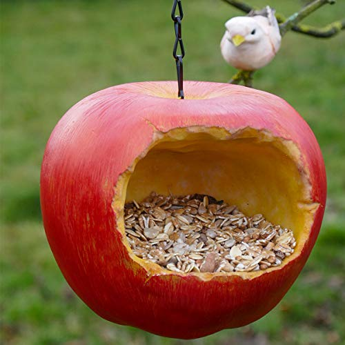 GOSHOWIN Hand-Painted Apple Bird Feeder House for Outside Hanging, Resin Bird House Handcrafted Hut for Hummingbird Finch Wren Robin Sparrow Garden Decor on The Tree in Front Yard or Patio