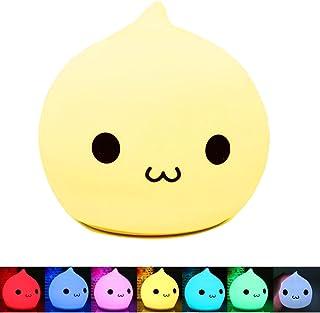 BestFire LED multicolor de silicona portátil lámpara de la noche, con pilas de la luz de la noche de los niños con blanco cálido y 7 colores de respiración Dual modos de luz