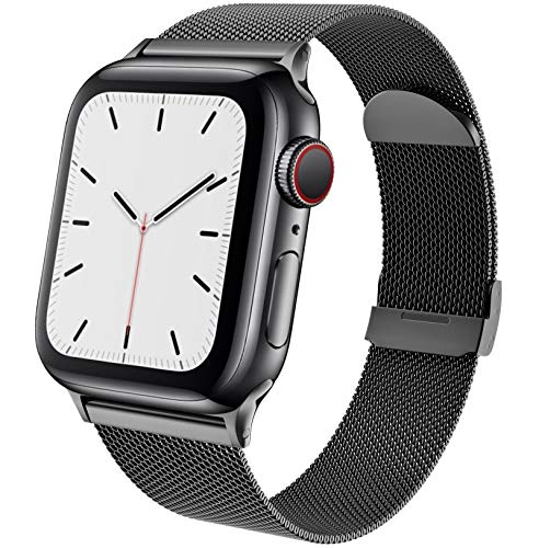 BOLUBUS Compatible with Apple Watch Bands 38mm 40mm 42mm 44mm Women Men, Stainless Steel iWatch Bands for Series 6/SE/5/4/3/2/1(44mm Black)