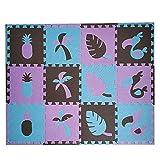 LYB 8 / 24pcs Toucan Style Baby EVA Espuma Puzzle Play Mat/Kids Frugs Alfombra Alfombra Enfermera para Niños Azulejos 30 * 30 * 1 Cm (Color : Purple Skyblu Coffee, Size : 12pcs 30x30cm)