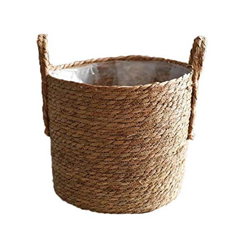Adore store Paja de la Cesta del almacenaje, Hecha a Mano de la Cesta del almacenaje de Paja, Mimbre Tejida Rota Pot, Flor Recipiente de Almacenamiento para decoración, 30cm