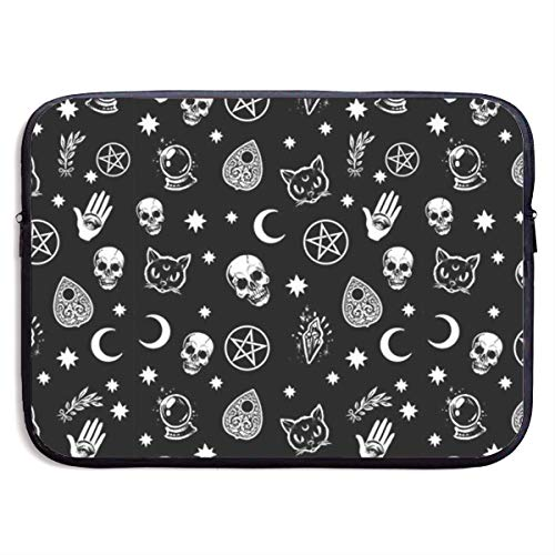 Colorful Skull Cat Moon Gothic Pattern 13/15 Inch Laptop Sleeve Bag for MacBook Air 11 13 15 Pro 13.3 15.4 Portable Zipper Laptop Bag Tablet Bag,Water Resistant,Black