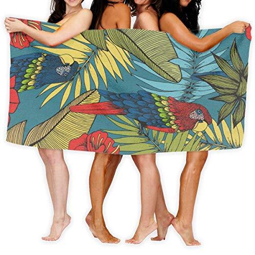 LOPEZ KENT Serviettes de Plage pour Femmes Hommes Deken Tropische Planten Papegaai Badlakens Populair 100% Polyester Buiten Grote Handdoek Cover voor Yoga Mat Tent Floor 31.5