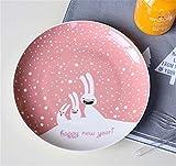 SD&EY Placa de cerámica de Navidad Dibujos Animados Pintado a Mano Placa de Cena de Fruta Plato de Fruta China Placa de Cena Occidental del año Nuevo Regalo,D