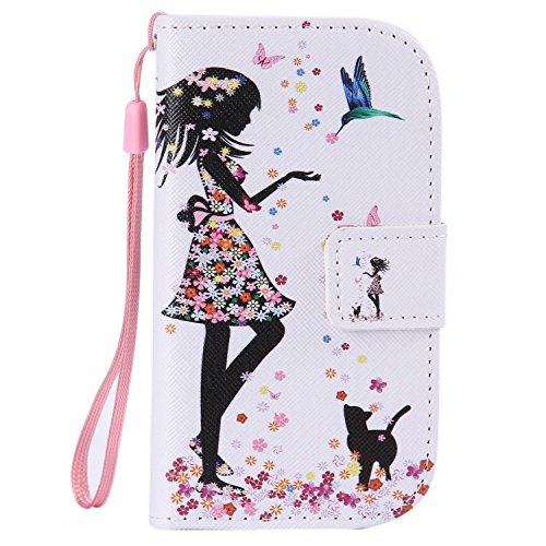 ISAKEN Kompatibel mit Galaxy S3 Mini Hülle, PU Leder Geldbörse Wallet Hülle Ledertasche Handyhülle Tasche Hülle Schutzhülle mit Handschlaufe Standfunktion für Samsung Galaxy S3 Mini - Mädchen Katze