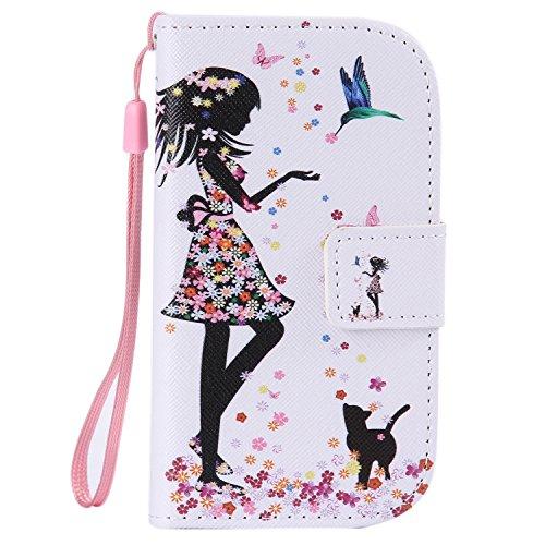 ISAKEN Kompatibel mit Galaxy S3 Mini Hülle, PU Leder Geldbörse Wallet Case Ledertasche Handyhülle Tasche Case Schutzhülle mit Handschlaufe Standfunktion für Samsung Galaxy S3 Mini - Mädchen Katze