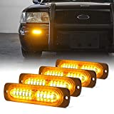 Xprite Amber 12 LED Emergency Strobe Lights Kit Surface Flush Mount Side Marker