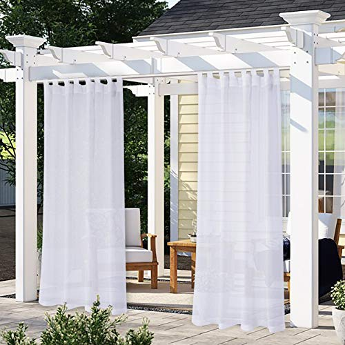 LORDTEX Burlap Linen Look Outdoor Curtain for Patio - 2 Panels Waterproof Tab Top Sheer Curtains for Pergola, Porch, Cabana and Gazebo Indoor/Outdoor Voile Sheer Drapes, 52 x 95 Inch, White