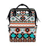 TropicalLife Ethnic Geometric Boho Diaper Backpack Large Capacity Baby Bags Multi-Function Zipper Casual Travel Backpacks for Mom Dad Unisex