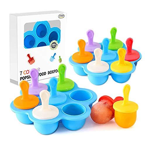 TWBEST Eisförmchen,Eisförmchen Popsicle Formen,Popsicle Formen, 7 Löcher, DIY-Eiswürfelformen mit farbigen Plastikstäbchen, Lutscher und Eiscremeformen, Antihaft-Eiswürfelschalen (2 Sätze)