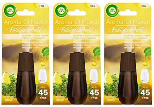 Air Wick Aroma-Öl Flakon Belebende Zitrone & Thymian 3er Pack (3 x 20ml), Nachfüller für Aroma-Öl Diffuser