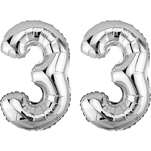 DekoRex® Gonflable Ballon Foil de 40cm d'air Anniversaire décoration numéro Argent Brillant No 33