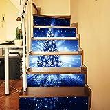 Christmas Tree Stair Stickers 3D Waterproof DIY Wall Stickers Home Decoration, QHJ Christmas Decorations Sale Christmas Tree Decoration (A)