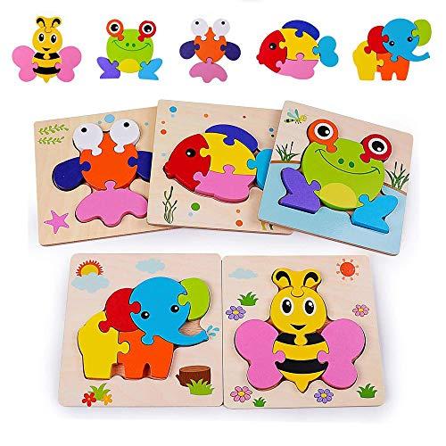 Sinwind Holzpuzzle für Kinder, 3D Steckpuzzle Holzspielzeug,Steckpuzzle Holz Montessori Spielzeug, Tierpuzzle Frühpädagogisches Vorschulspielzeug, Bestes Geburtstagsgeschenk für 2-4+ Jahre
