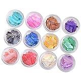 Mingtongli Mujeres Chicas 12pcs / Set Shell scrains uñas Arte decoración Juego Kit Herramienta de Lentejuela manicura