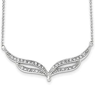 """Lex & Lu Sterling Silver CZ Fancy Beaded Necklace 18"""""""