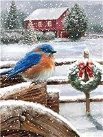ダイヤモンドの絵画 スクエア/ラウンドドリル5Ddiyダイヤモンドペインティング「クリスマスバードスノーツリー」刺繡クロスステッチフルラインストーン装飾
