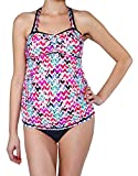 Oceanlily Ruched Front Maternity Swimwear-Pregnancy Swimsuits-Bathing Suit-Maternity Tankini Top Floral Chevron M